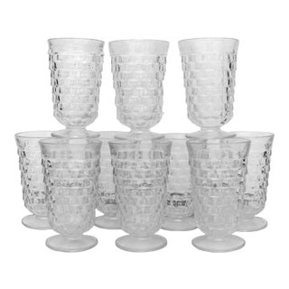 Midcentury Faceted Glassware, Set of 10 For Sale