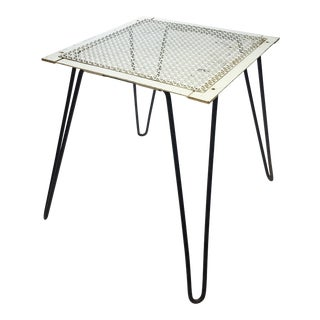 Vintage Beige Metal Table with Iron Hairpin Legs