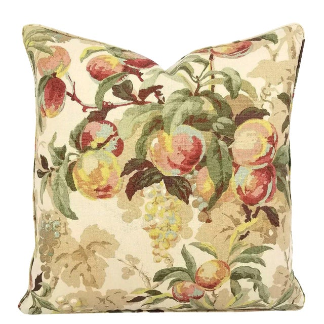 """Brunschwig & Fils Peach Tree in Beige and Blue Linen Print Pillow Cover - 20"""" X 20"""" For Sale"""
