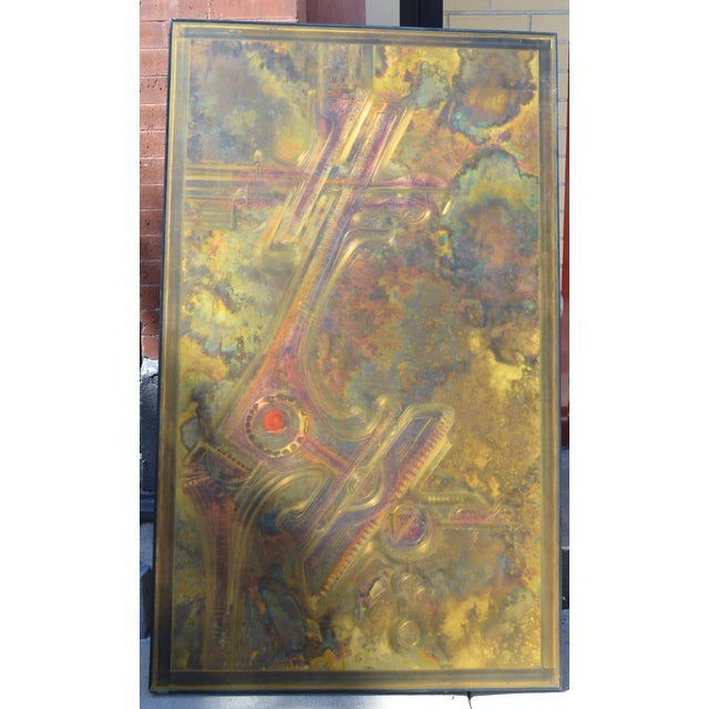Mid-Century Modern Bernhard Rohne Brass Acid Etched Wall Art For Sale - Image 3 of 11