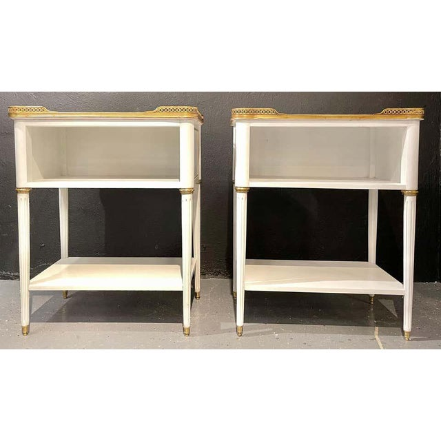 Late 20th Century Pair of Swedish Neoclassical Open Nightstands or End Tables Manner Jansen For Sale - Image 5 of 11