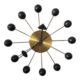 Vintage Space Age George Nelson Ball Clock, 1960s For Sale