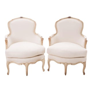 19th Century French 19th Century Louis XV Painted Bergères - a Pair For Sale