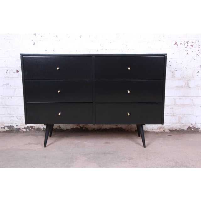 Paul McCobb Planner Group Ebonized Six-Drawer Dresser, Newly Restored For Sale - Image 11 of 11