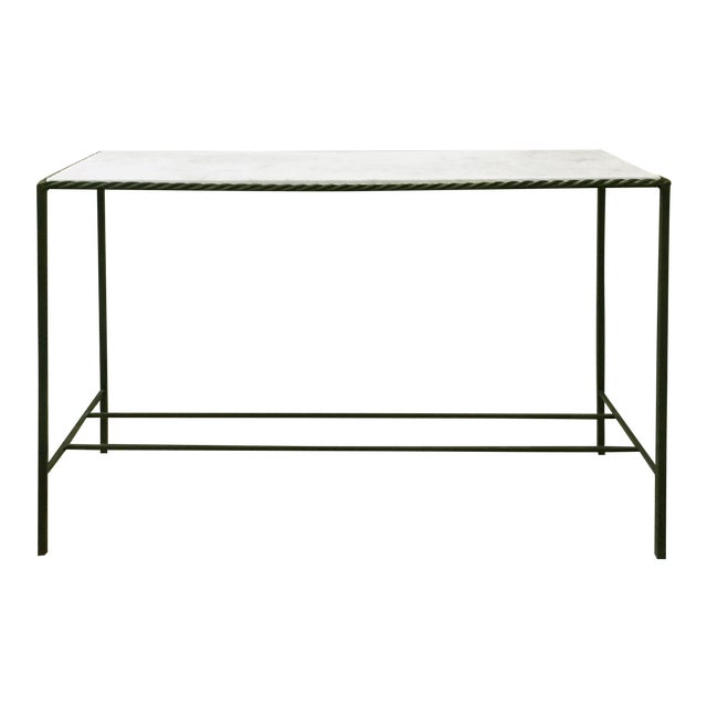 Metal Rectangular White Marble Top Console Table - Image 1 of 4