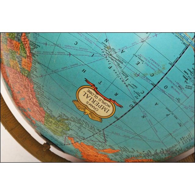 Blue Vintage Revolving World Globe with Wood Pedestal Stand For Sale - Image 8 of 11