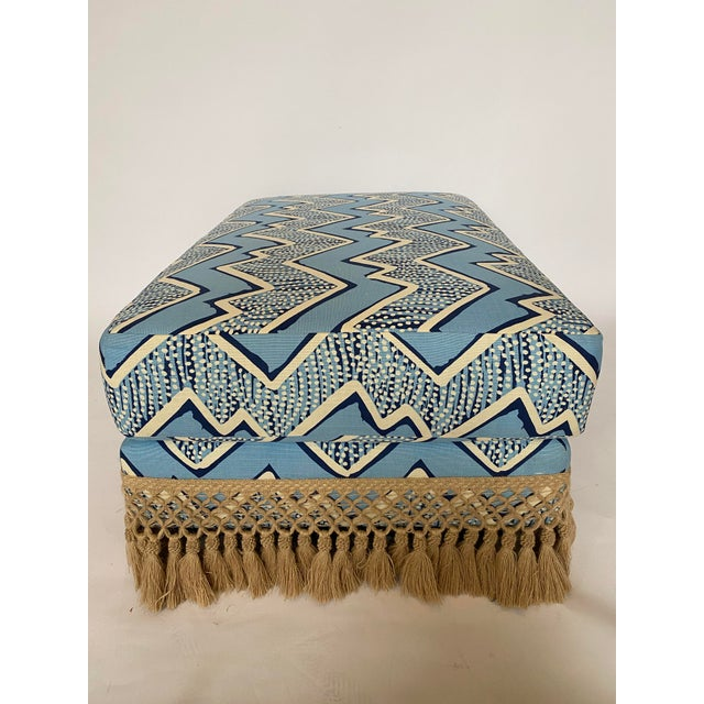 Modern Modern Ottoman With Samuel and Sons Fringe For Sale - Image 3 of 7