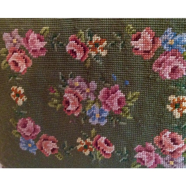 1930s Vintage Victorian Cast Iron Needlepoint Footstool For Sale - Image 10 of 12