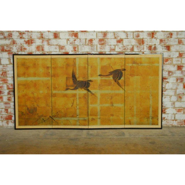 Asian Japanese Four-Panel Byobu Screen Autumn Geese For Sale - Image 3 of 11