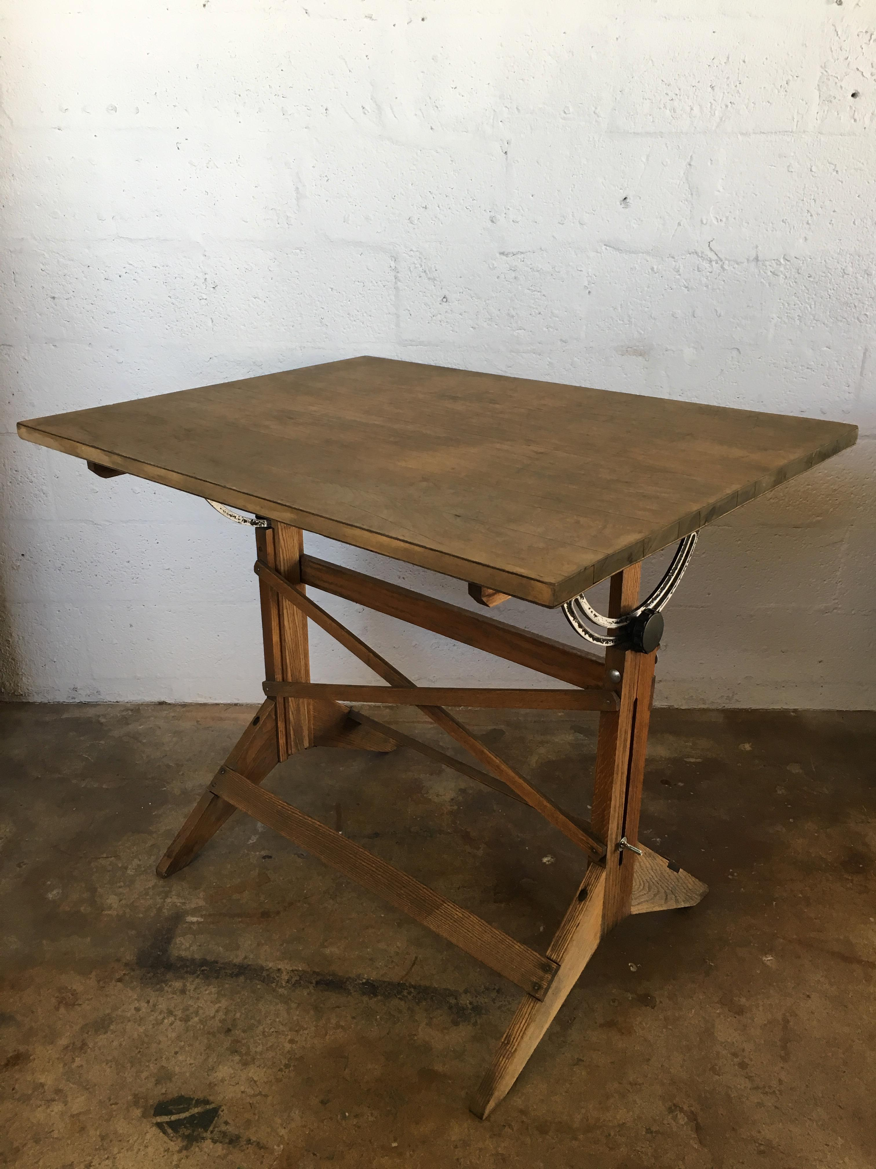 Vintage Adjustable Industrial Architect Drafting Table   Image 2 Of 10