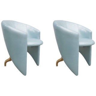 Pair of 1980s Memphis Style Chairs in Aquamarine Leather For Sale