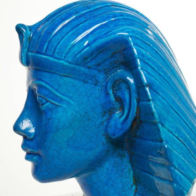 Persian Blue Glaze King Tutankhamun Ceramic Bust by Ugo Zaccagnini - Image 4 of 8
