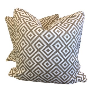 "Geometric Woven Cotton 22"" Pillows - a Pair For Sale"