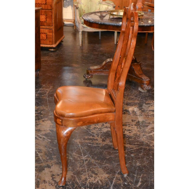 Set of Six 19th Century Dutch Marquetry Inlaid Dining Chairs For Sale - Image 10 of 11