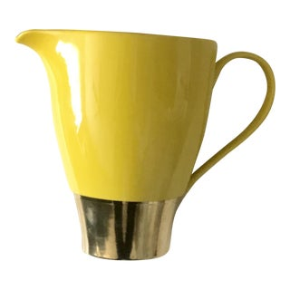 Large Yellow and Gold Ceramic Water Pitcher For Sale