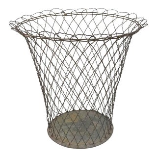 Early 20th Century French Wire Wastebasket For Sale