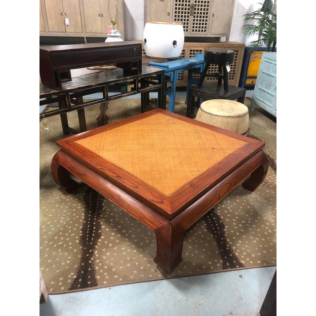 Wood 20th Century Ming Style Cane Top Coffee Table For Sale - Image 7 of 8