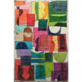 """Castling No. 2"" Encaustic Collage Painting by Gina Cochran For Sale"