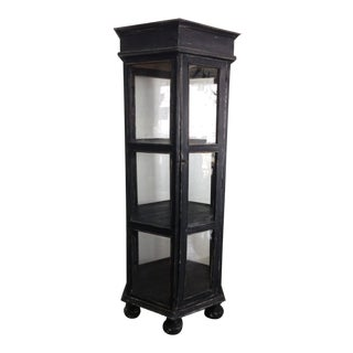 20th century Industrial Hexagon Rustic Glass Curio Cabinet For Sale
