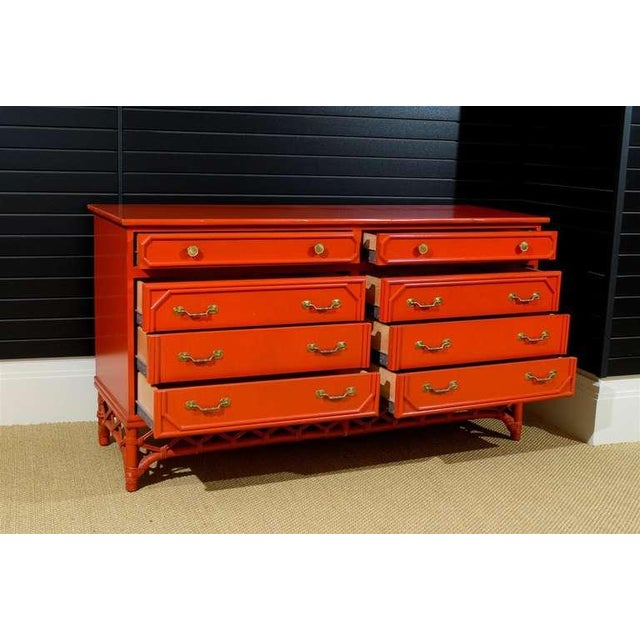 Gold Wonderful Vintage Ficks Reed 8 Drawer Chest/Buffet For Sale - Image 8 of 9