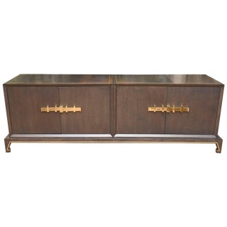 Tommi Parzinger Wood and Brass Cabinet For Sale
