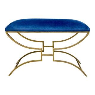 Modern Gold Metal Bench in Blue Velvet Fabric For Sale