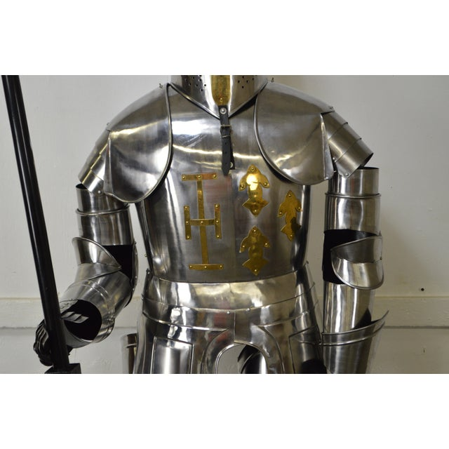 Silver Crusader Knight Authentic Full Size Replica Jousting Suit of Armor For Sale - Image 8 of 11
