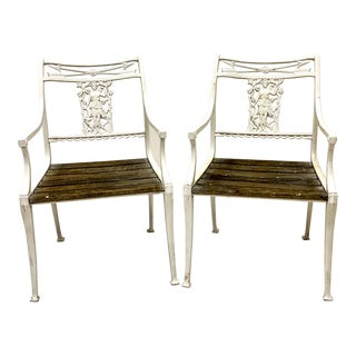 Pair of Antique English Cast Iron Garden Chairs Att. Molla For Sale