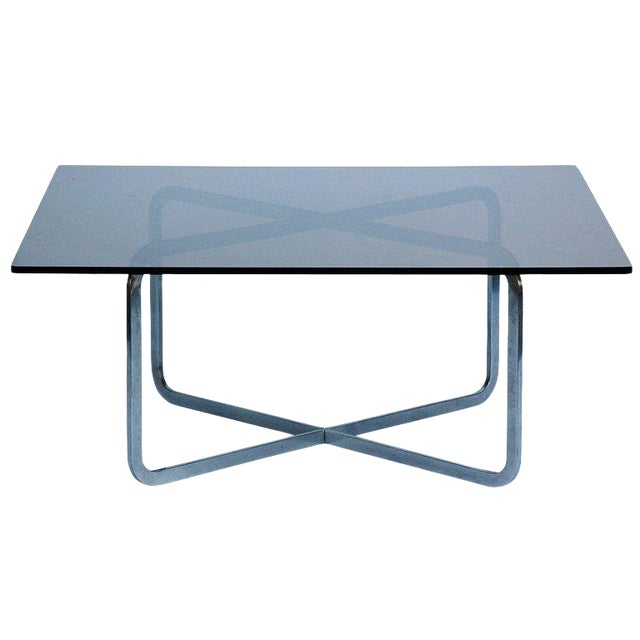 Brushed Steel and Smoked Glass Coffee Table in the Style of Michel Boyer For Sale