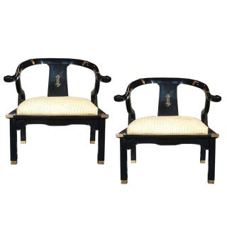 Pair of Hollywood Regency Armchairs in the Style of James Mont For Sale