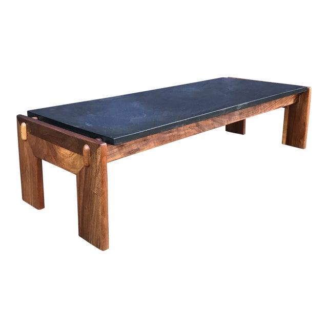 Restored Adrian Pearsall Walnut Slate Coffee Table Craft Associates For Sale