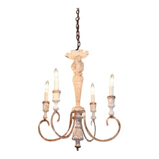 Iron and Wood Chandelier For Sale