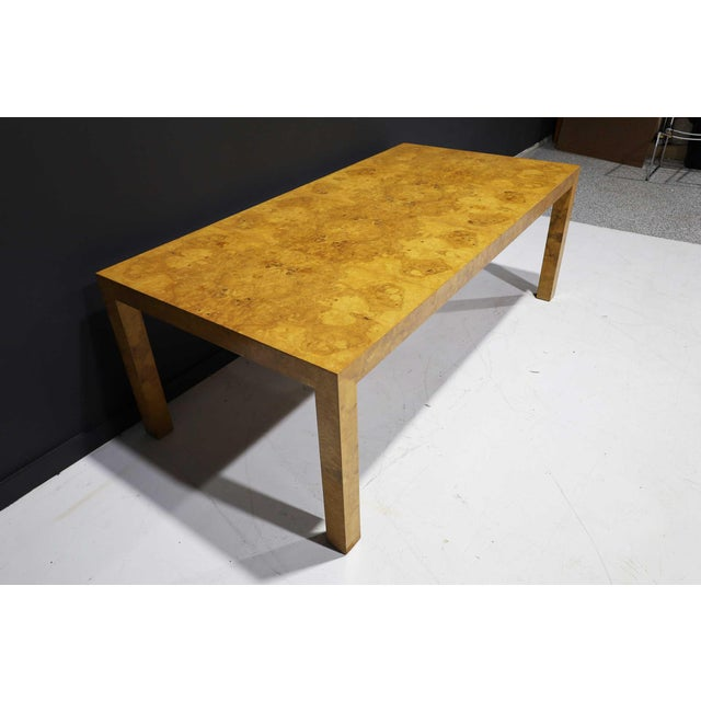 Milo Baughman Olivewood Burl Parsons Dining Table For Sale - Image 9 of 13