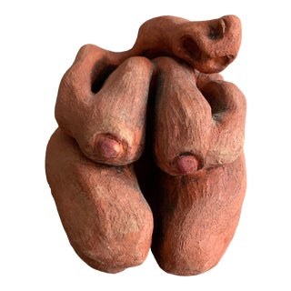 1990s Biomorphic Abstract Nude Woman Signed Clay Sculpture For Sale