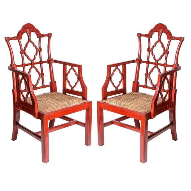 Chinese Red Lacquered Chippendale Style Gothic Chairs With Cane Seats, A-Pair For Sale - Image 13 of 13