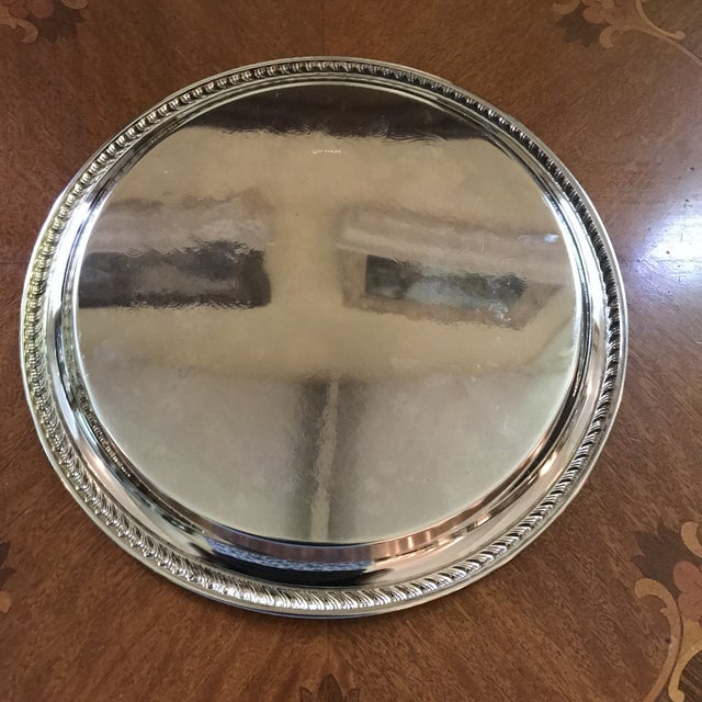 Vintage WM Rogers Silver-Plate Round Tray For Sale In Birmingham - Image 6 of 13