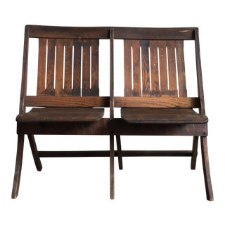 Vintage Oak Double Folding 2-Seat Chair, 1920s