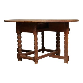18th Century Baroque Pine Drop Leaf Dining Table For Sale
