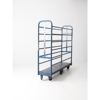 Vintage Industrial Blue Metal Cart Preview