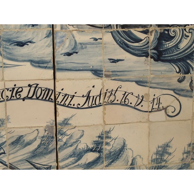 Monumental 3-Piece 18th Century Azulejo Mural Panel From Portugal For Sale - Image 11 of 13
