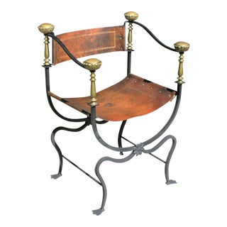 Early 20th Century Iron, Brass & Leather Savonarola Chair / Curule Chair For Sale