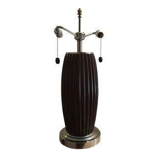 Vintage Teak Wood & Pewter Lamp With Hand Carved Vertical Ridges That Circle the Circumference of the Lamp For Sale