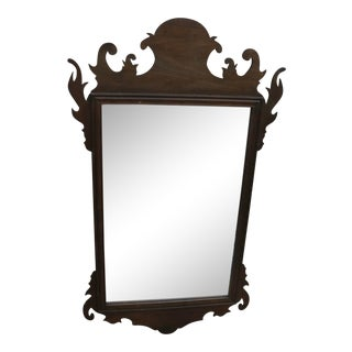 18th Century Style American Chippendale Mahogany Wall Mirror For Sale