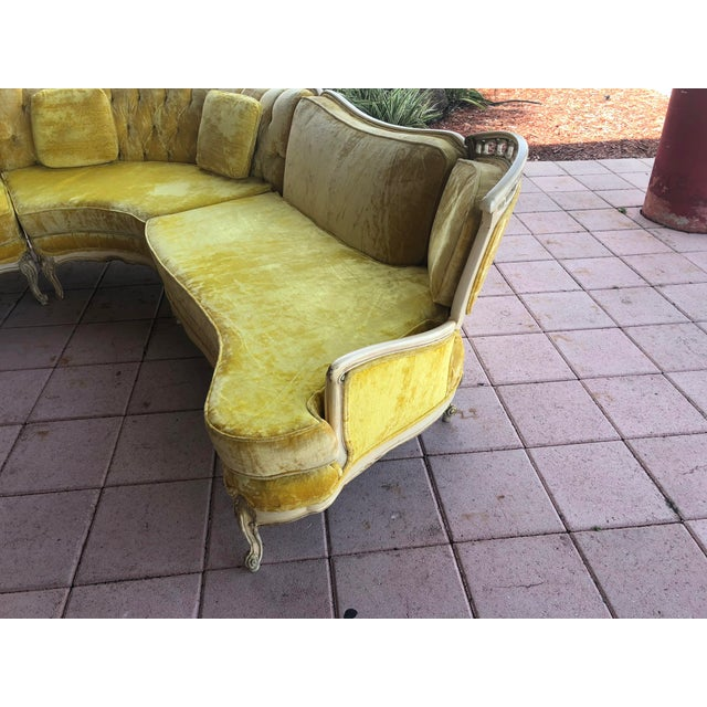 Hollywood Regency Hollywood Regency Yellow Velvet Italian Sectional For Sale - Image 3 of 8