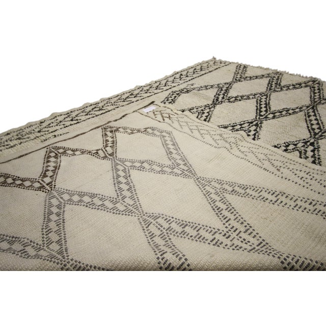 20th Century Moroccan Berber Beni Ourain Diamond Patterned Rug For Sale - Image 9 of 10