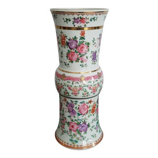 Tall Hand Painted Porcelain Vase by Lowestoft For Sale