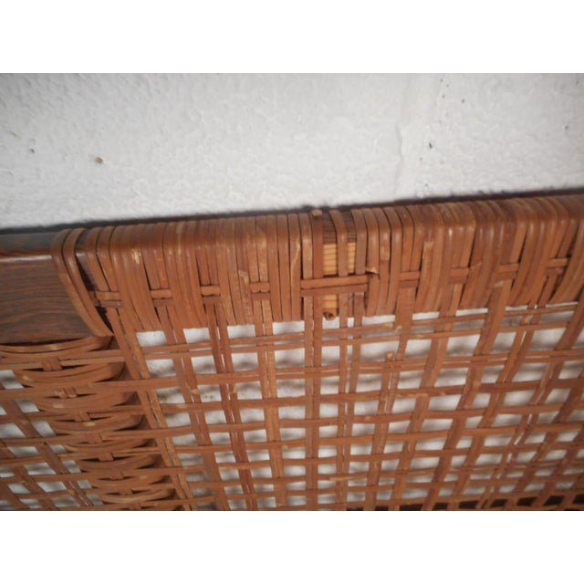 Wood Midcentury Queen Sized Rosewood and Cane Headboard For Sale - Image 7 of 11
