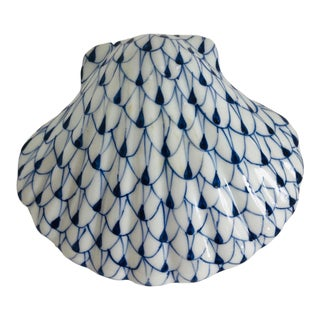 Late 20th Century Andrea by Sadek Blue and White Sea Shell For Sale