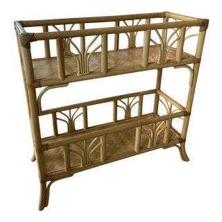 Vintage Rattan Bamboo Plant Stand Shelf Console Table For Sale
