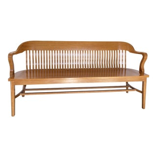 Solid Oak Bankers Bench For Sale